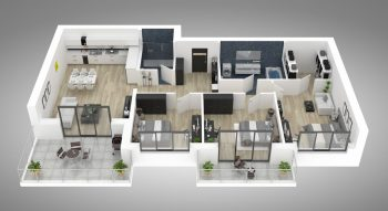Floor,Plan,Of,A,House,Top,View,3d,Illustration.,Open